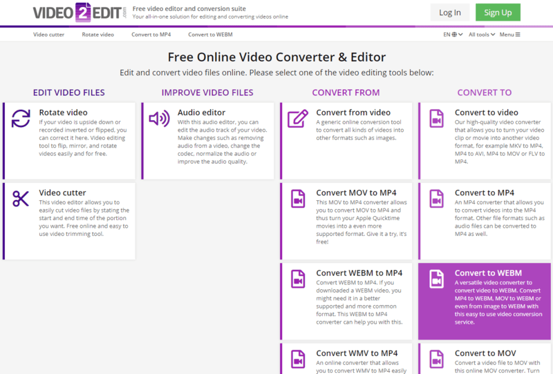 Online WEBM converter on Video2Edit